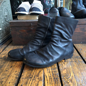 Marsell Black Waxed Suede Side Zip Distressed Boot - 10.5