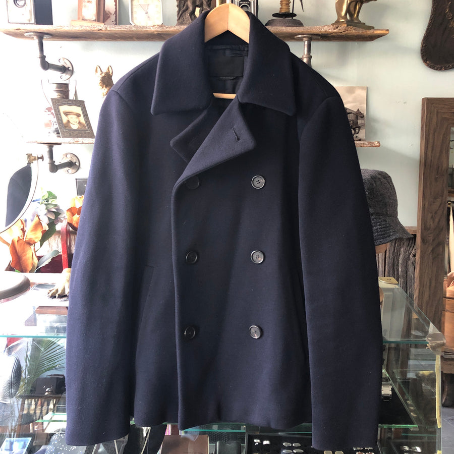 Prada Thick Navy Wool Peacoat - M