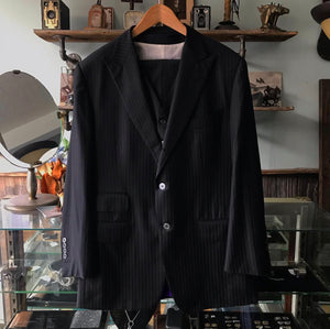 Tom Ford Black Pinstripe Three Piece Suit - 42