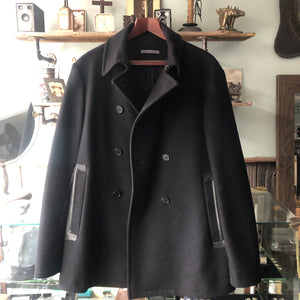 John Varvatos Black Wool and Leather Trim Pea Coat - M
