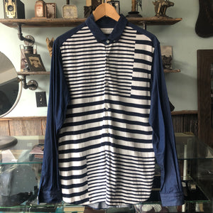 Tomorrowland Tricot Blue and White Denim Knit Stripe Shirt - M