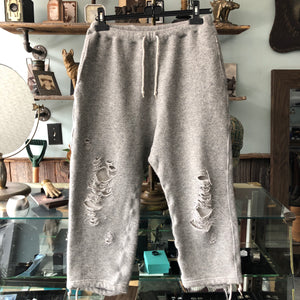 Miharayasuhiro Grey Cropped Distressed Joggers - M
