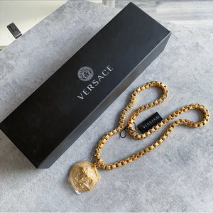 Versace Gold Chain Medusa Medallion Necklace
