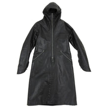 Load image into Gallery viewer, Inaisce Black Coated Canvas Long Hooded Zip Coat