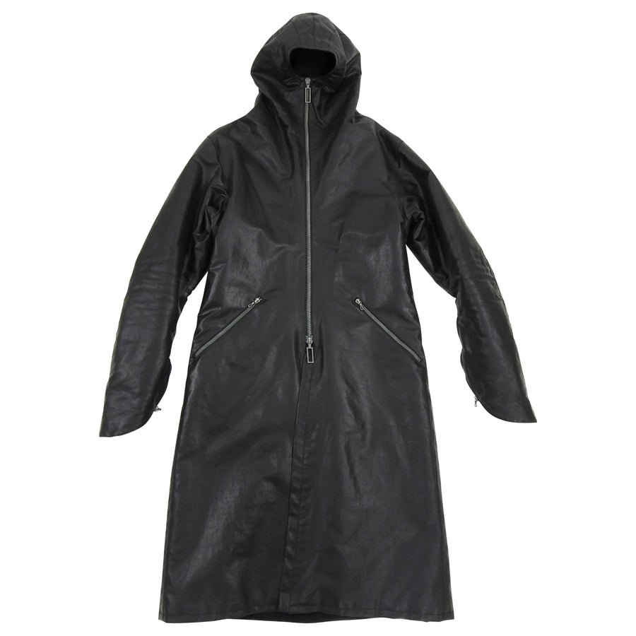 Inaisce Black Coated Canvas Long Hooded Zip Coat