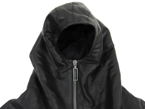 Inaisce Black Coated Canvas Long Hooded Zip Coat - L
