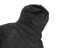 Load image into Gallery viewer, Inaisce Black Coated Canvas Long Hooded Zip Coat - L