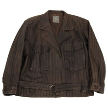 Load image into Gallery viewer, Issey Miyake Striped Brown Cropped Moto Jacket - S