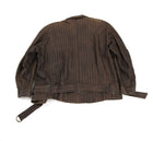 Issey Miyake Striped Brown Cropped Moto Jacket - S