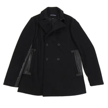 Load image into Gallery viewer, John Varvatos Black Wool and Leather Trim Pea Coat