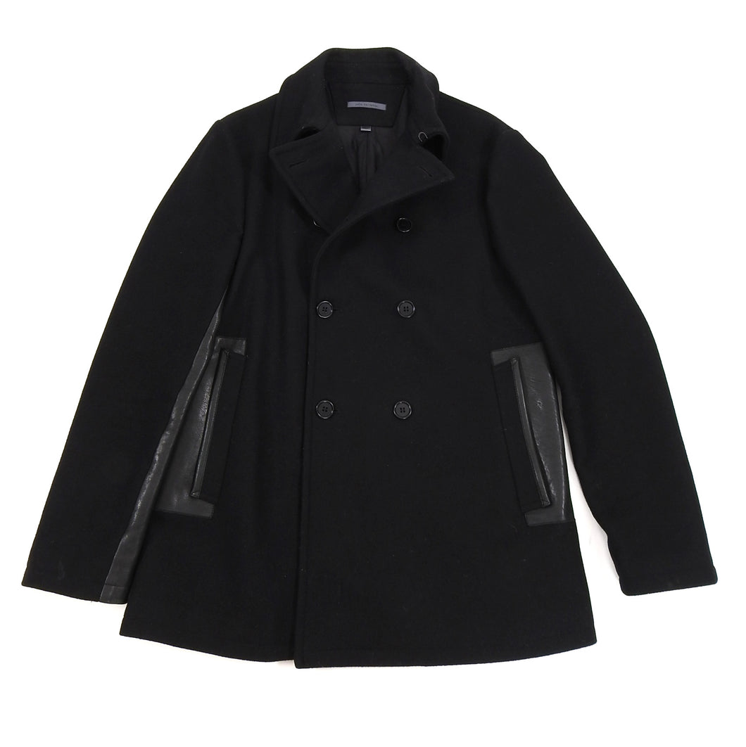John Varvatos Black Wool and Leather Trim Pea Coat