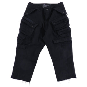 Julius Fall 2012 Cropped Black Cargo Pocket Trousers with Raw Edges - XS
