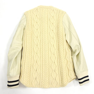 Junya Watanabe Comme Des Garcons Man Cable Knit Leather Sleeve Varsity Jacket - M