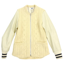 Load image into Gallery viewer, Junya Watanabe Comme Des Garcons Man Cable Knit Leather Sleeve Varsity Jacket