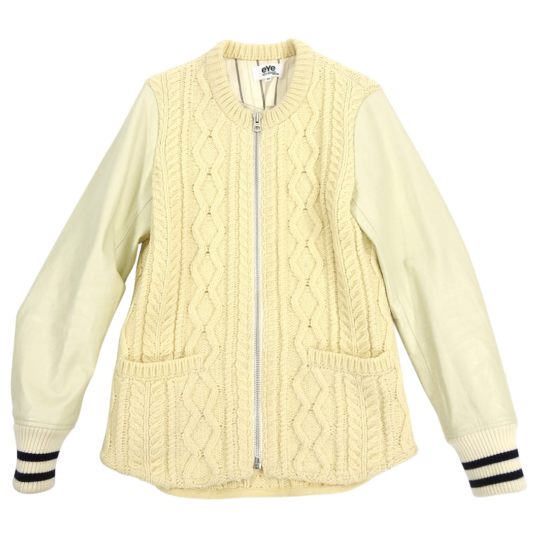 Junya Watanabe Comme Des Garcons Man Cable Knit Leather Sleeve Varsity Jacket