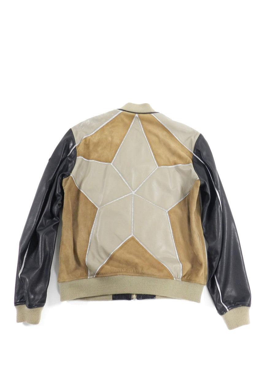 Just Cavalli Brown Multi Leather Bomber Jacket - M