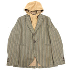 Kenzo Tan Herringbone Blazer with Detachable Hood