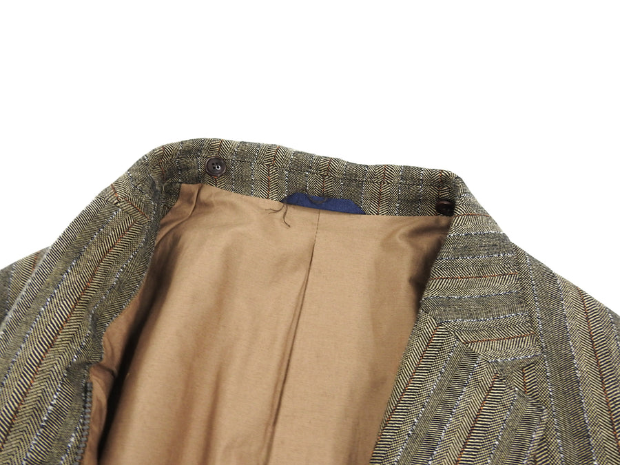 Kenzo Tan Herringbone Blazer with Detachable Hood - XL