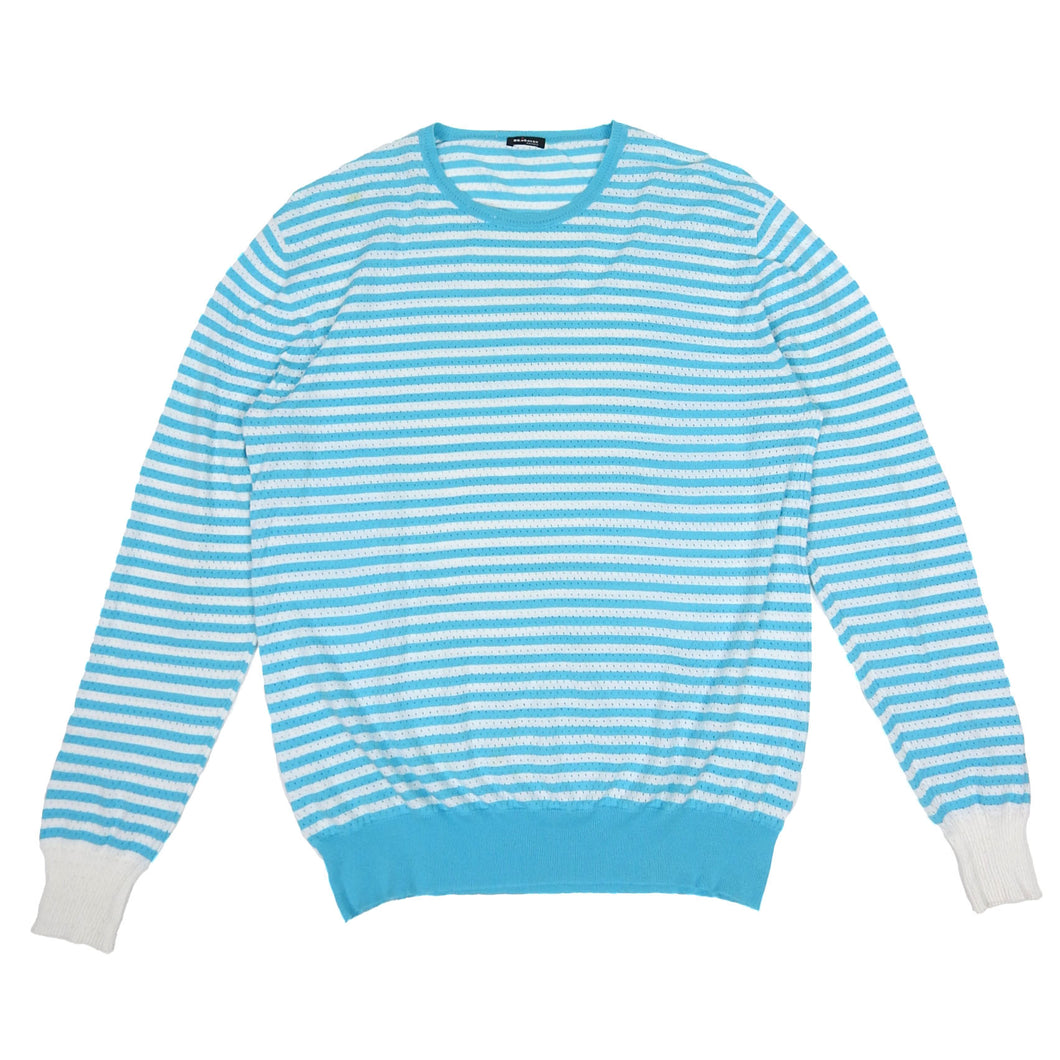 Kiton Perforated Long Sleeve Blue/White Small