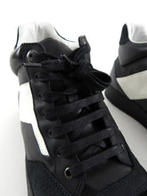 Load image into Gallery viewer, Lanvin Black and White Leather Suede Mid Top Lace Up Sneakers - 8