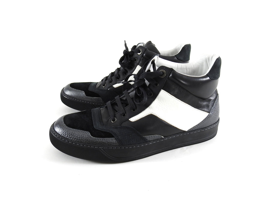 Lanvin Black and White Leather Suede Mid Top Lace Up Sneakers - 8