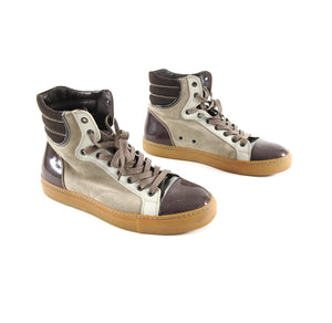 Lanvin Tennis Haute High Top Brown Suede and Leather Sneakers