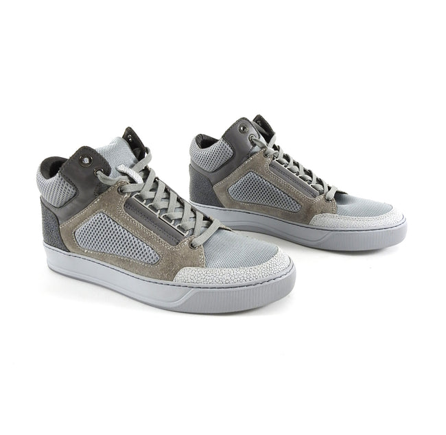 Lanvin Grey Mesh and Suede Mid Top Lace Up Sneakers
