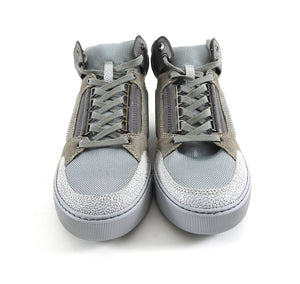 Lanvin Grey Mesh and Suede Mid Top Lace Up Sneakers - 6