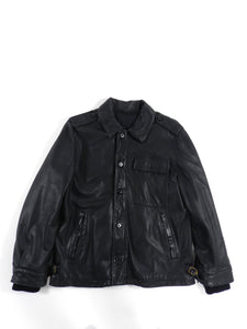 Lanvin Black Aviator Leather Jacket - L