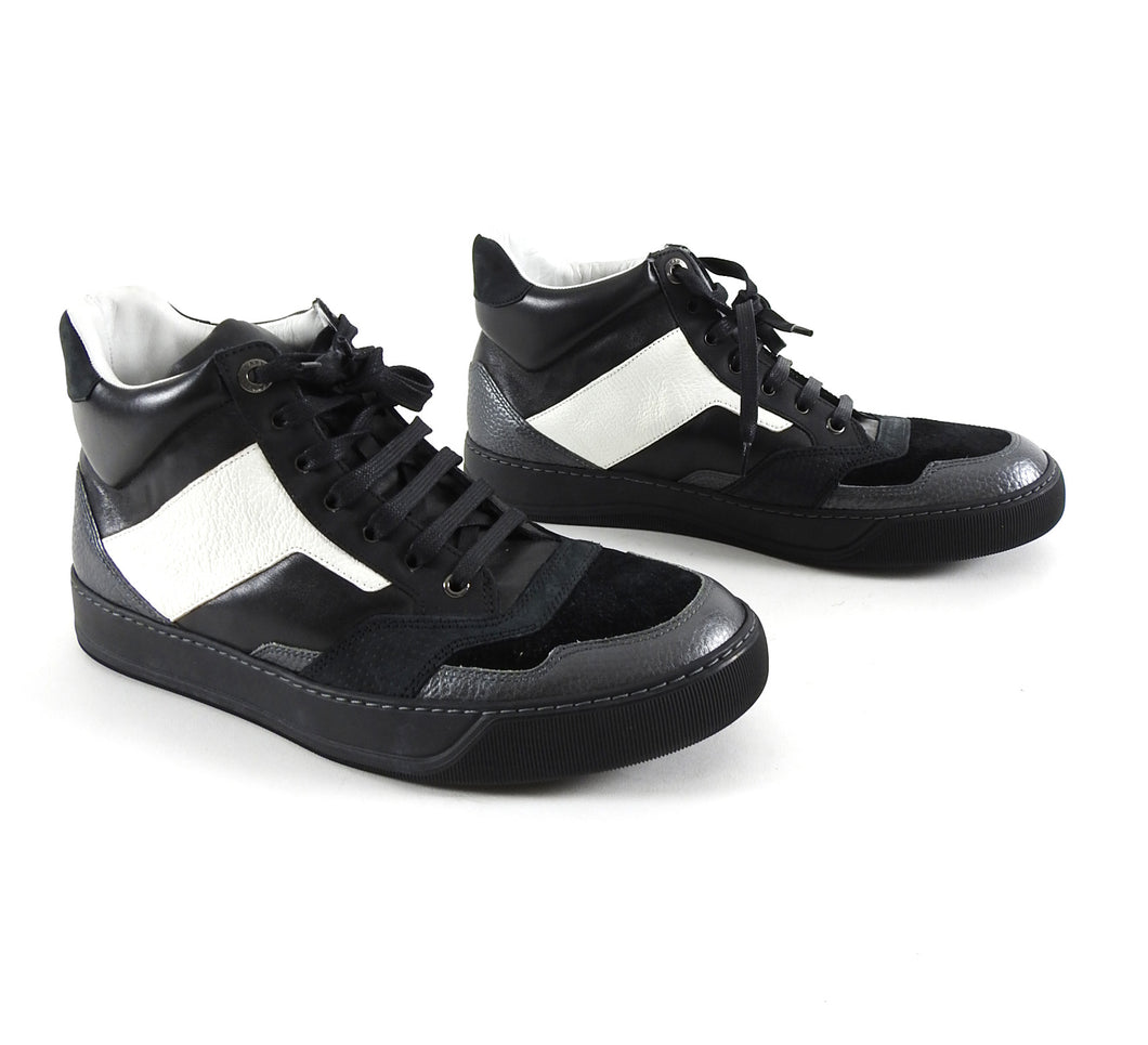 Lanvin Black and White Leather Suede Mid Top Lace Up Sneakers