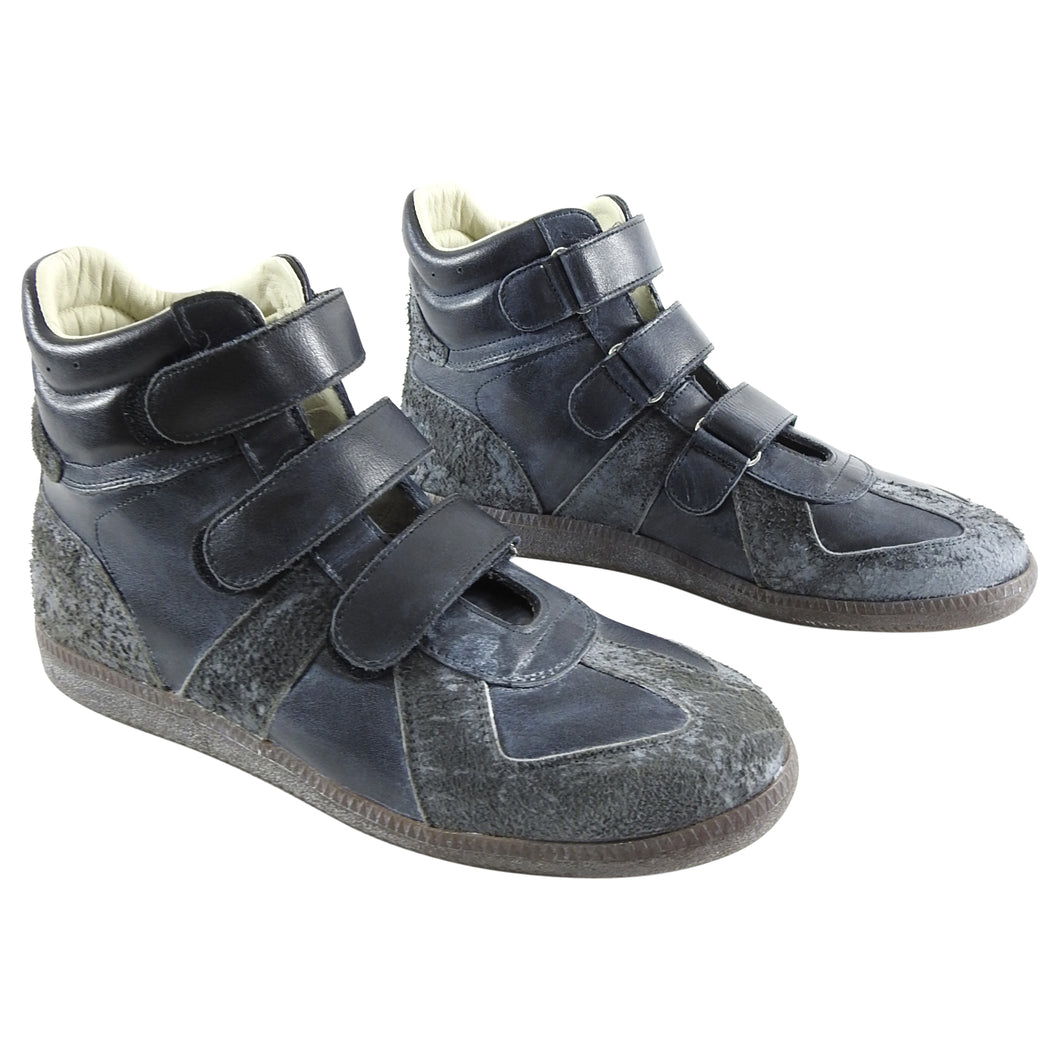 Maison Margiela Dark Grey High Top Vel cro Gat Sneakers