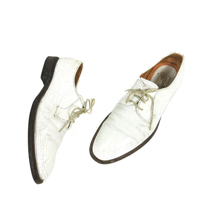 Margiela Replica Ceremonial Military Cracked Leather Derbies White 41