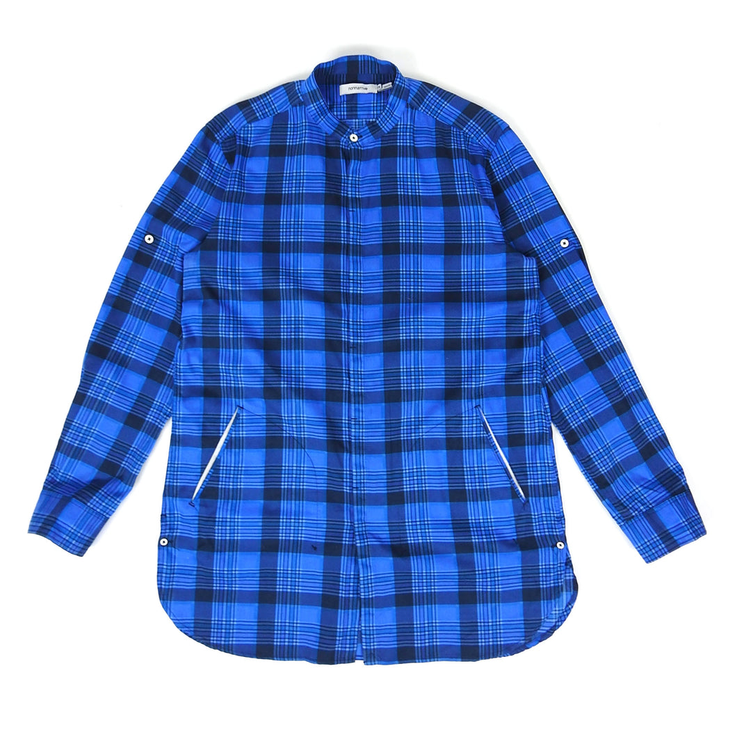 Nonnative Collarless Check Button Up Blue Size 3