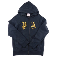 Load image into Gallery viewer, Palm Angels Black Zip Up Hoodie with Gold Metallic Embroidered Logo - L