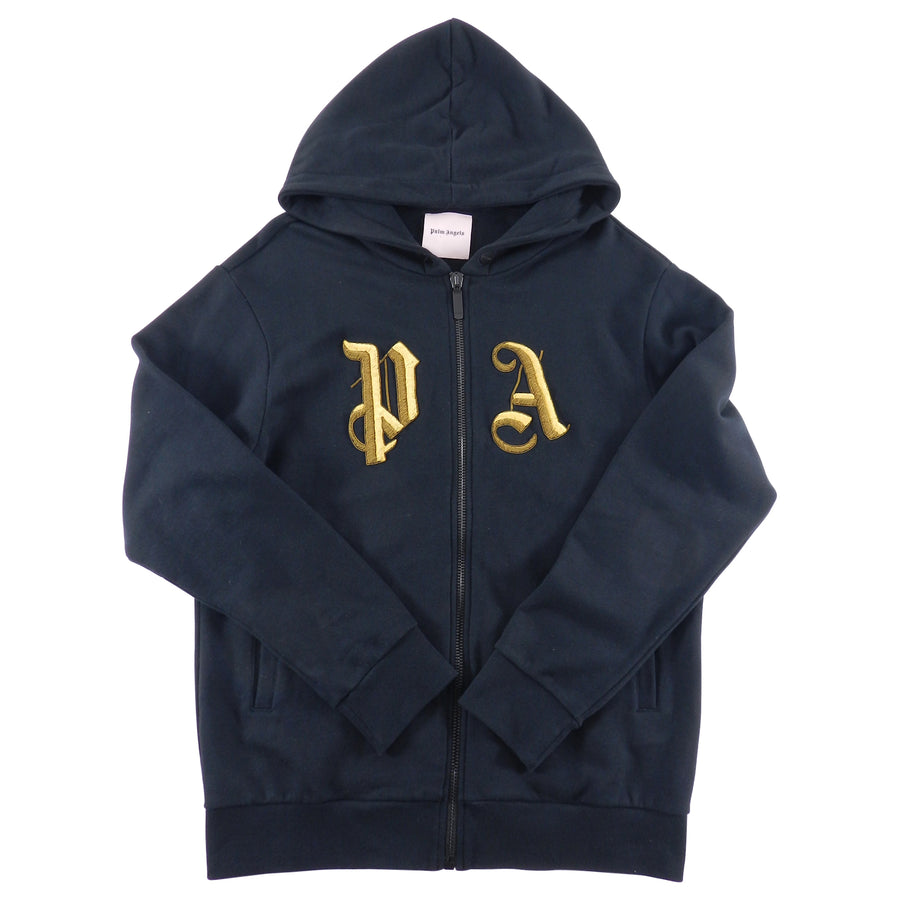 Palm Angels Black Zip Up Hoodie with Gold Metallic Embroidered Logo - L