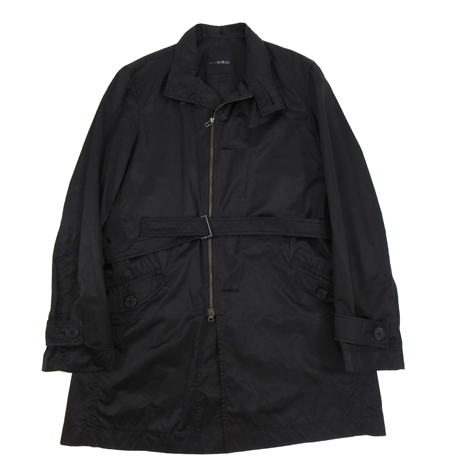 Philippe Dubuc Black Nylon Belted Trench Coat