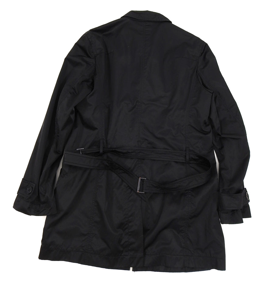 Philippe Dubuc Black Nylon Belted Trench Coat - S