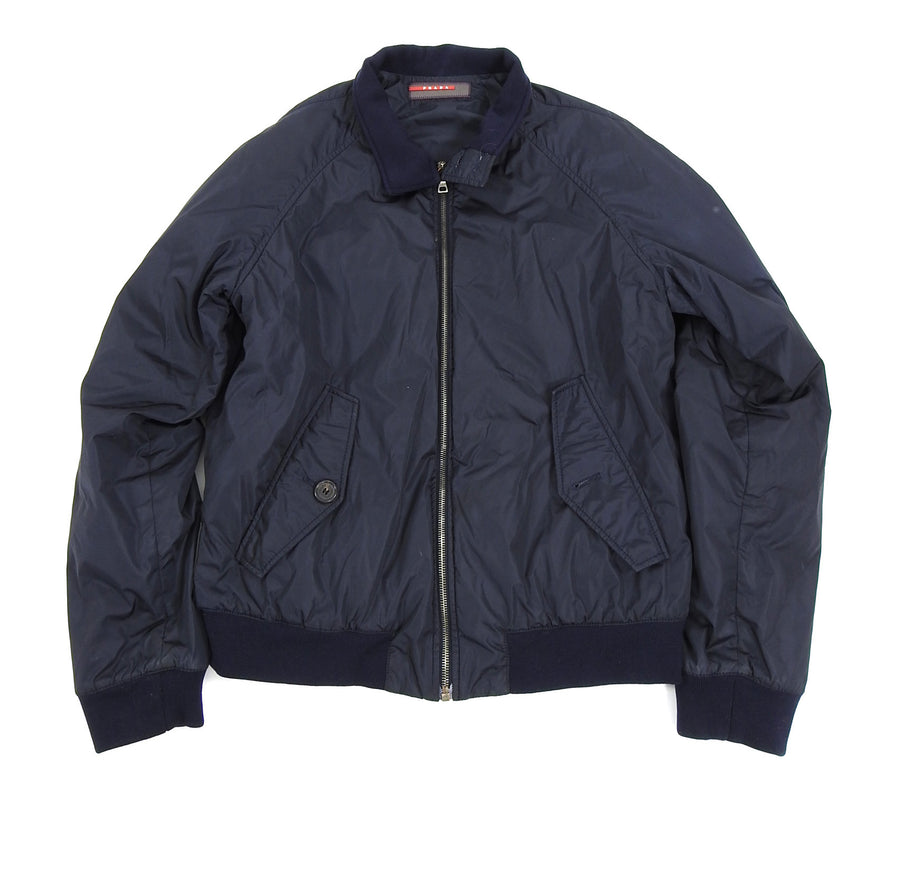 Prada Navy Nylon Zip Up Bomber Jacket