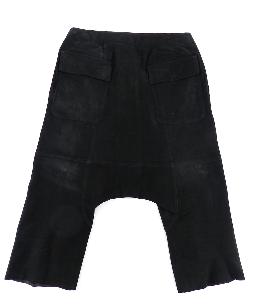 Rick Owens Black Suede Cargo Cropped Trouser - XS