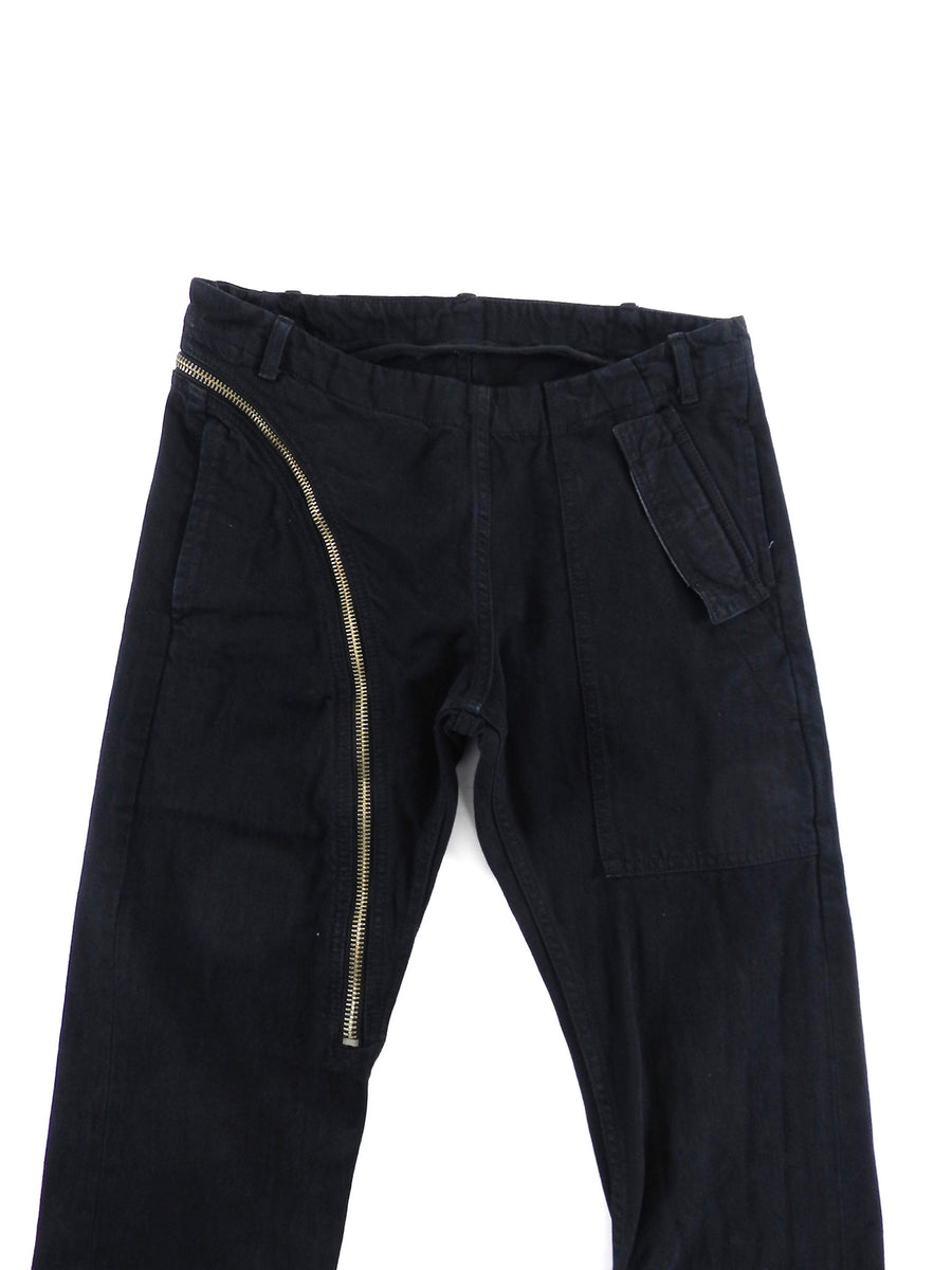 Rick Owens DRKSHDW Asymmetric Zip Black Trousers - XS
