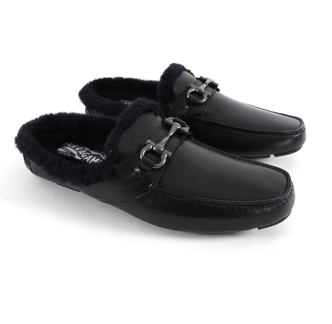 Salvatore Ferragamo Black Shearling Mule Slip-On Loafers