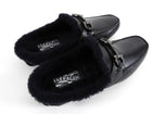 Salvatore Ferragamo Black Shearling Mule Slip-On Loafers - 9
