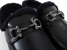 Load image into Gallery viewer, Salvatore Ferragamo Black Shearling Mule Slip-On Loafers - 9