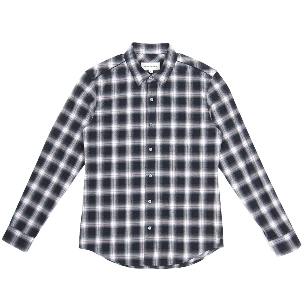 Solid Homme Check Shirt Black/White Size 46