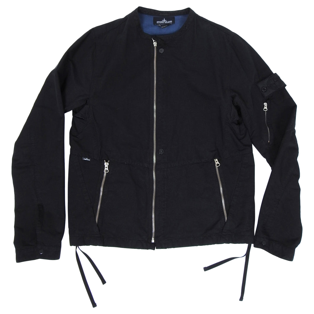 Stone Island Shadow Project Black Moto Style Zip Up Jacket