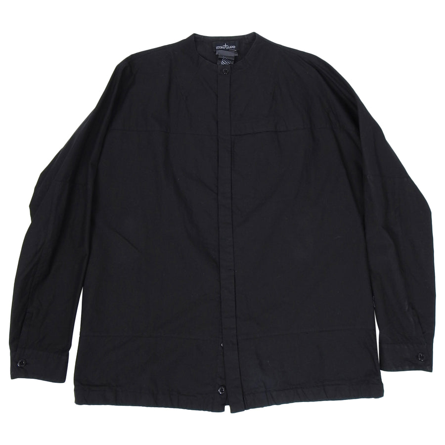 Stone Island Shadow Project Black Nehru Collar Button Up Shirt