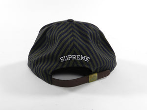 Supreme Navy Green Stripe Strapback Cap Hat