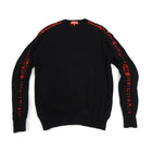 Supreme Black and Red Logo Stripe Pullover Sweater