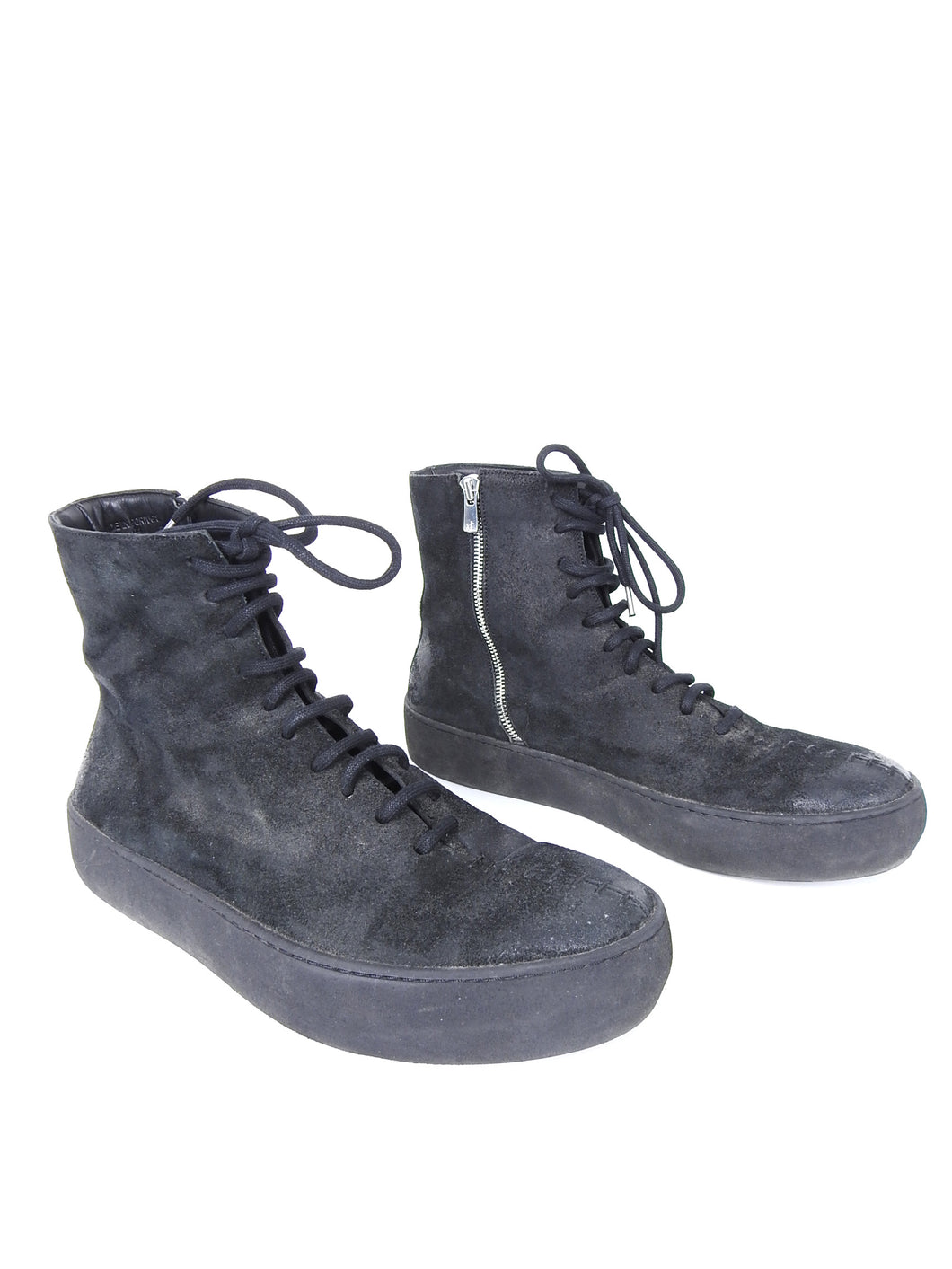 The Last Conspiracy Black Waxed Suede Side Zip Lace Up High Top Sneaker