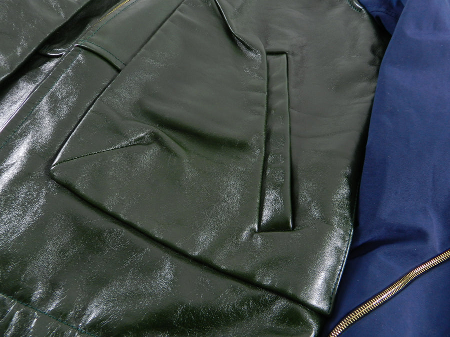 Tim Coppens Spring 2013 Runway Green Leather Jacket with Navy Sleeves - L